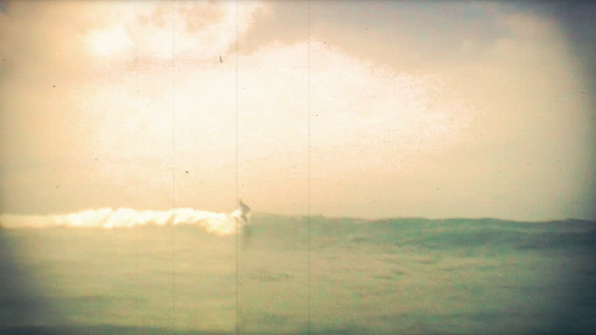 old school 8mm surfer shot on slow motion - HD stock video clip