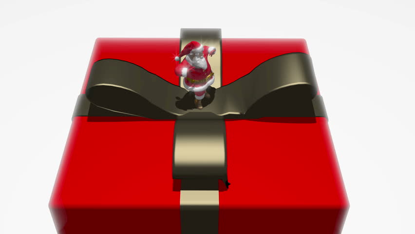 Santa Claus dancing on top of a present or gift box