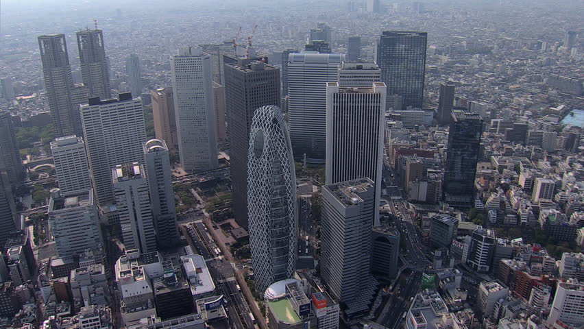 Aerial view Tokyo city Skyscrapers Cocoon Tower Metropolitan Government Building Business district Shinjuku Japan East Asia #7794835