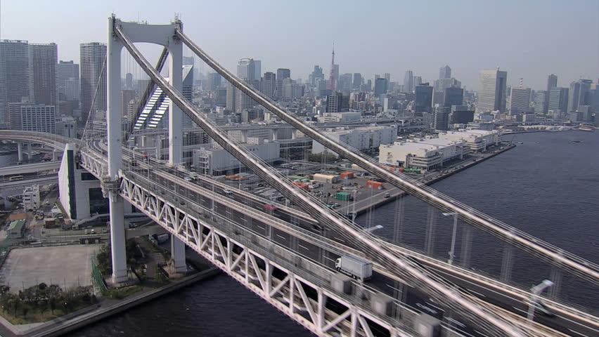 Aerial Rainbow Suspension Bridge Metropolis Odaiba travel Tokyo Bay Shuto Expressway vehicle Japan #7796257