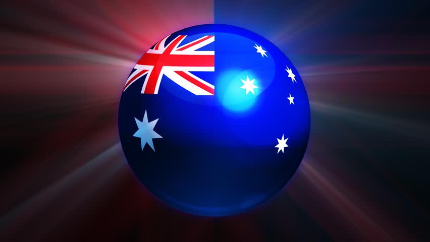 Australian flag spinning globe with shining lights - loop  - HD stock footage clip