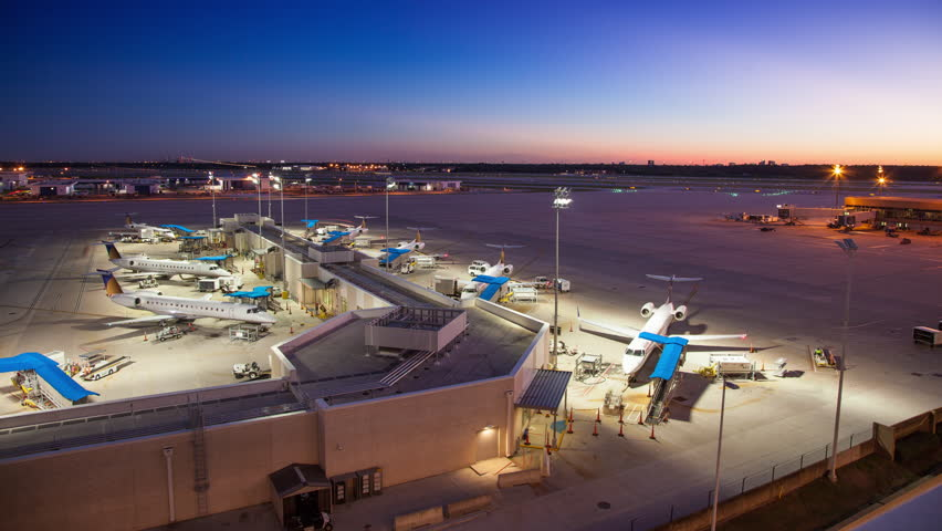 Awesome Timelapse during Sunset at George Bush Intercontinental Airport in Houston TX with every Recognizable Brand on Airplanes Terminals and Other Elements Masked and Rotoscoped