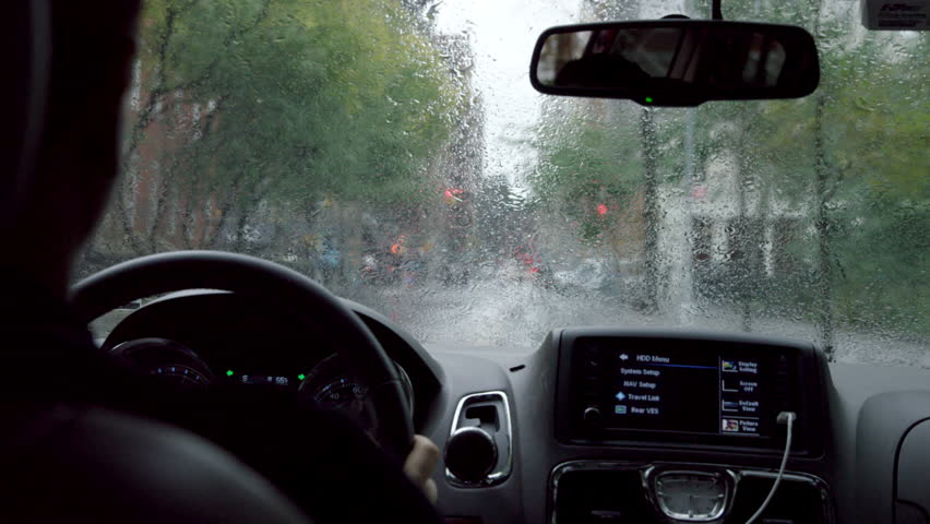 new york oct 23 2014 driver pov inside car interior driving in rain in slow motion with. Black Bedroom Furniture Sets. Home Design Ideas