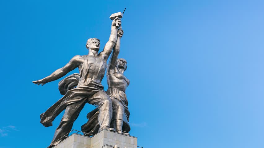 4k timelapse of famous soviet monument Rabochiy i Kolkhoznitsa ( Worker and Kolkhoz Woman OR Worker and Collective Farmer) of sculptor Vera Mukhina, Moscow, Russia. Made of in 1937.  - 4K stock footage clip