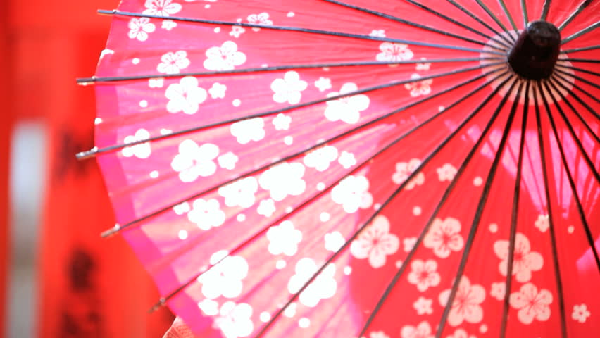 Red oil paper parasol cherry blossom Japan Asia Japanese symbol travel tourism advertisement outdoors sunshine culture   Shutterstock HD Video #7835587