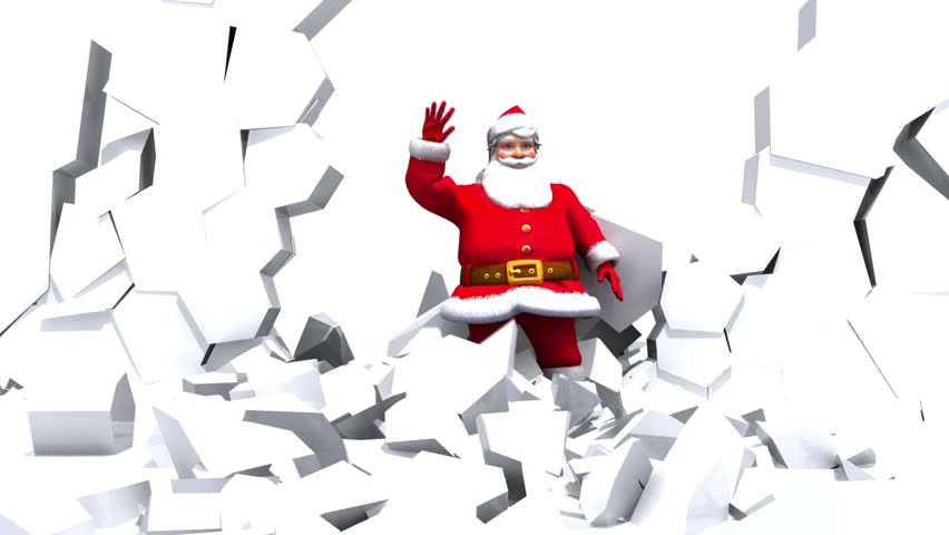 Santa Claus breaks through ice wall and waves to Camera.