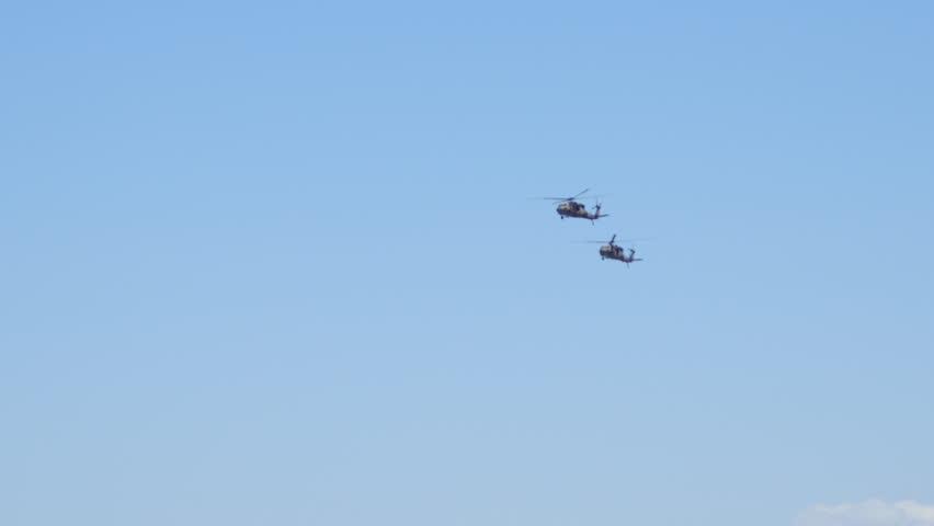 Brisbane, Queensland, Australia. November 2014: Brisbane G20 Army Blackhawk Helicopters fades. - 4K stock video clip