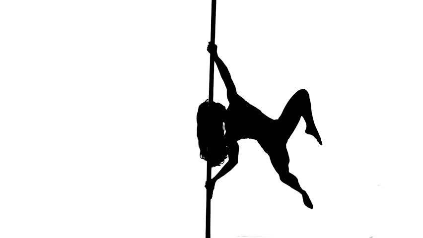 One caucasian woman pole dancer dancing in silhouette studio isolated on white background.