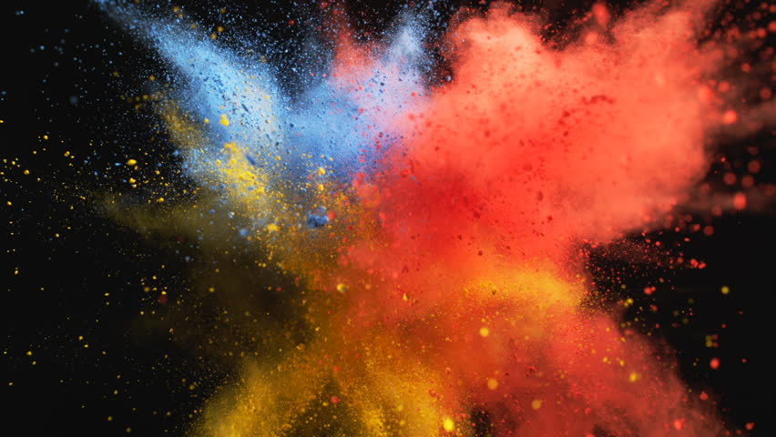 Red, yellow and blue powder/particles fly after being exploded against black background. Shot with high speed camera, phantom flex 4K. 4K 30fps. Slow Motion. | Shutterstock HD Video #7926658