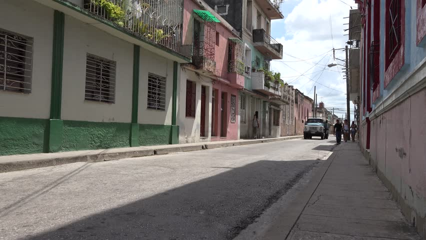SANTA CLARA,CUBA-JULY 10, 2014: Old Russian truck circulating in city streets. Santa Clara is the capital city of the Cuban province of Villa Clara. It is located in the central region - 4K stock footage clip
