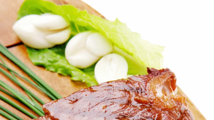 meat : beef ( lamb ) garnished with green lettuce and red chili ...