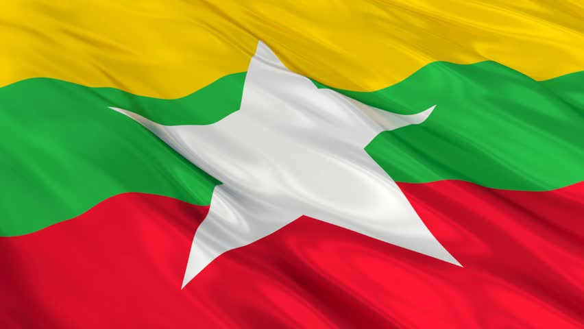 Flag of Burma waving in the wind. Seamless looping. 3d generated. - HD stock video clip
