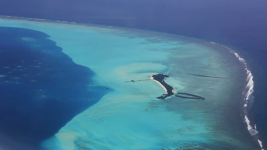 bird's-eye view of Maldives - HD stock video clip