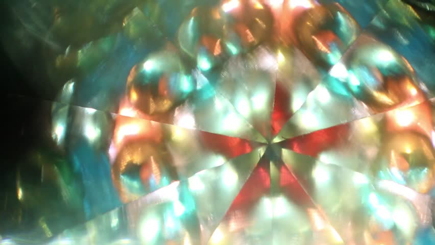 Colored kaleidoscope with water and multiple reflections in mirrors - HD stock footage clip