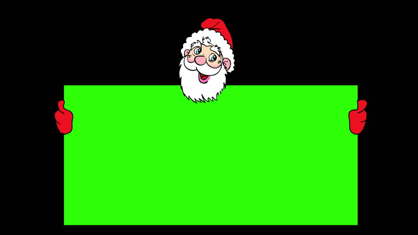 Happy Santa Claus over green blank. 4k animation.