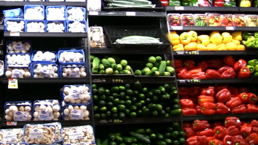 HD view of grocery vegetables and a short clip ripe bananas - HD stock footage clip