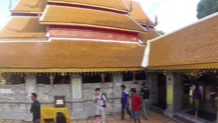 Wat Phra That Doi Suthep, Chiang Mai, Thailand. October 2014: Thai People and tourists visit the temple.