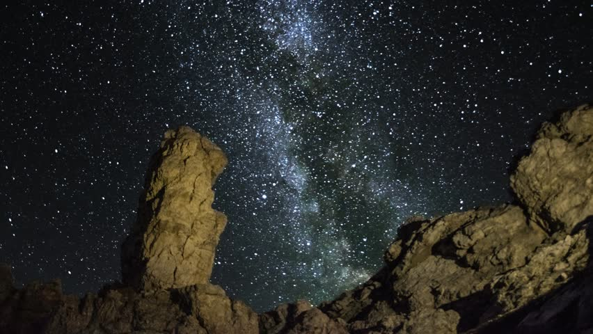 4K UHD milky way over a monolith - time lapse pan shot 11576