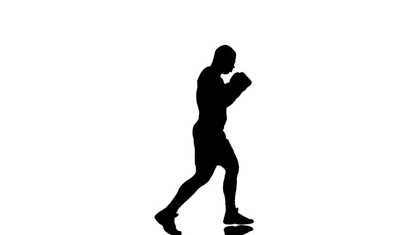 one caucasian man exercising boxing boxer workout fitness in silhouette studioisolated on white background