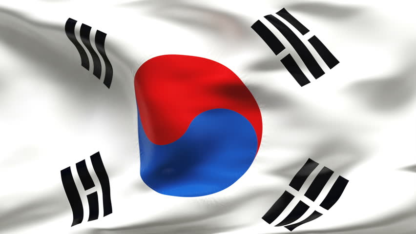 Creased SOUTH KOREAN flag in slow motion with visible wrinkles and seams - HD stock footage clip