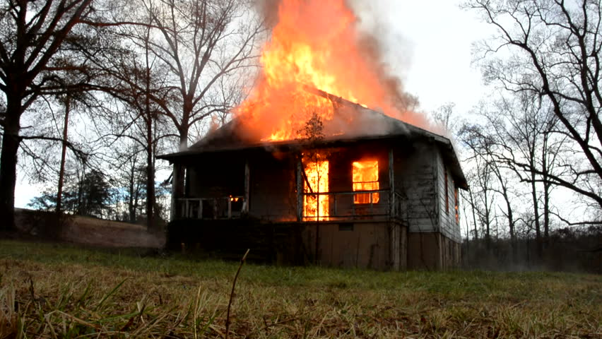 Old house going up in flames | Shutterstock HD Video #8080828