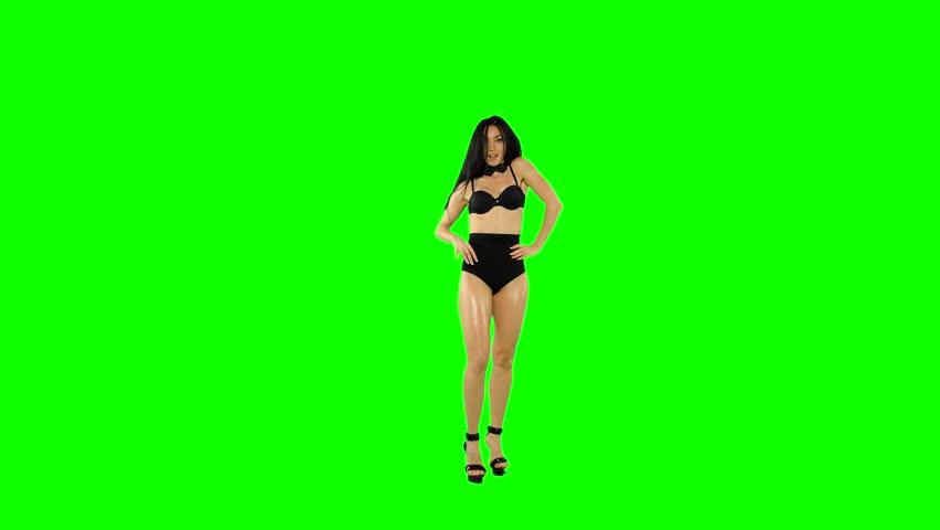 Go-go dancer girl isolated on green screen. - 4K stock video clip