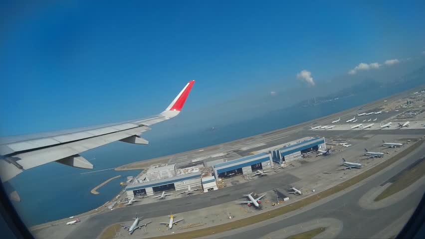 Hong Kong International Airport, November 25, - (Inside To Outside View) The Jet Plane Take Off From Runway To Flight, Chek Lap Kok, Hong Kong 2014