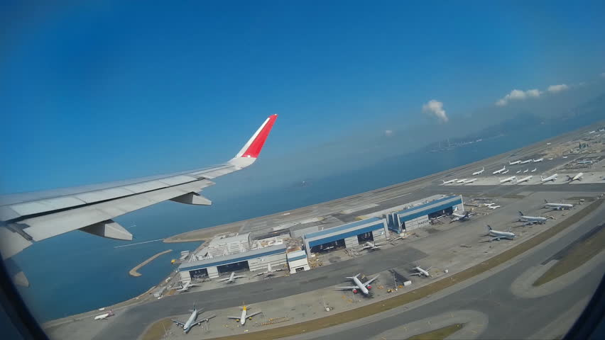 Hong Kong International Airport, November 25, - (Inside To Outside View) The Jet Plane Take Off From Runway To Flight, Chek Lap Kok, Hong Kong 2014