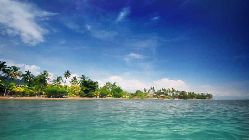Tropical beach (left) - HD stock video clip