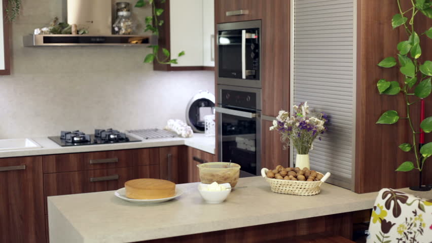 interior of new modern kitchen hd stock footage clip bonsai tree interior