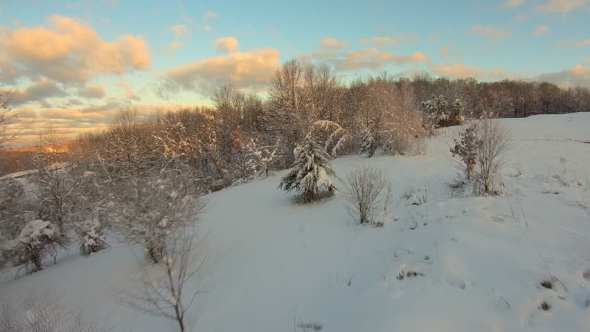First light snow, trees. Aerial HD snow landscape and snow storms. Upstate New York after a fresh, snow. Helicopter, high end 60FPS HD cam, w/ gyros. | Shutterstock HD Video #8110843