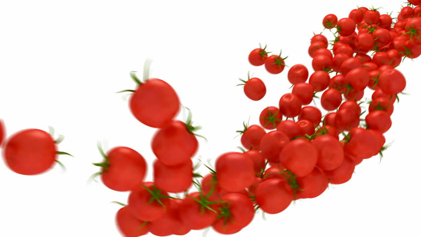 Tomatoes Cherry flow with slow motion over white