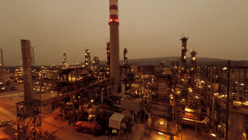 industrial background of oil and gas refinery factory. global warming simbol - 4K stock video clip