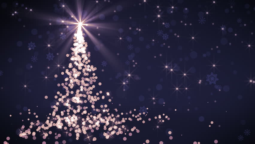 Abstract Christmas tree animation with falling snowflakes and glitters which is useful for Christmas,Holidays and New Year videos and presentation. 4K HD seamlessly loop-able background animation. - 4K stock video clip