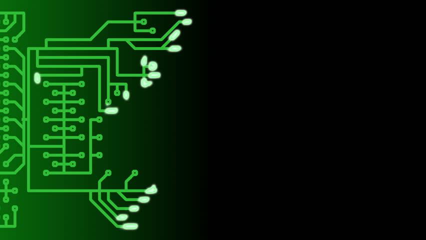 Data flowing through circuit board, infinite loop background animation