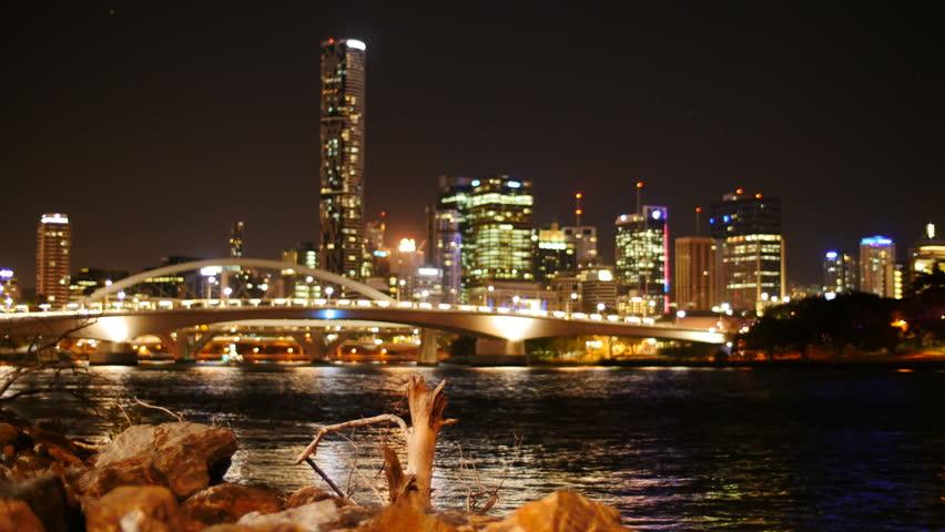 Brisbane river bank at night time lapse. Brisbane, Queensland, Australia. November 2014. - 4K stock footage clip