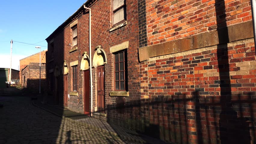 architecture old Victorian cobbled street with terraced houses - silhouette of old Victorian Houses - Longton, Stoke on Trent, Staffordshire, England: December 2014 - 02666698  #8209528
