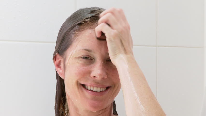 Attractive Woman Taking A Shower At Home Stock Footage Video