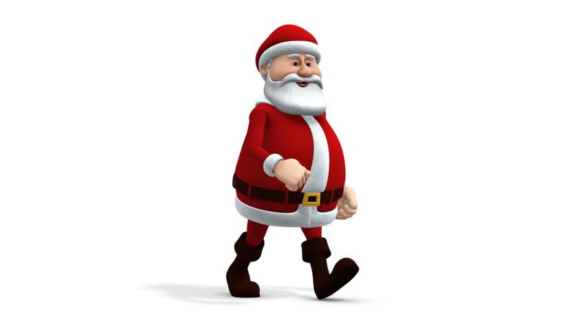 Cartoon santa claus running loopable d animation