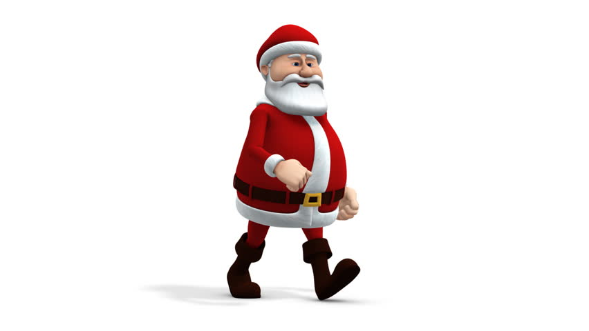 cartoon santa claus walking - loopable 3d animation - alpha mask and separate shadow pass included