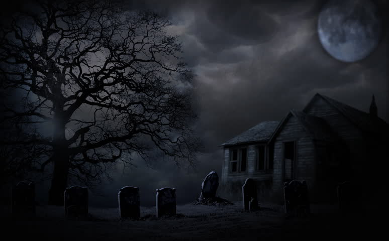Spooky Halloween haunted house animation with full moon and graveyard | Shutterstock HD Video #8259388