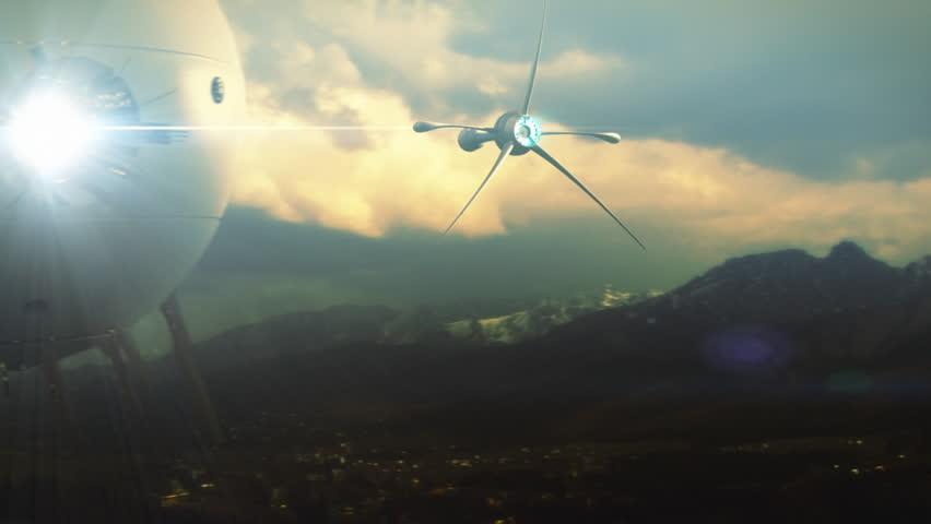 Spaceship flying over landscape towards a stargate. Sepia color grading version.