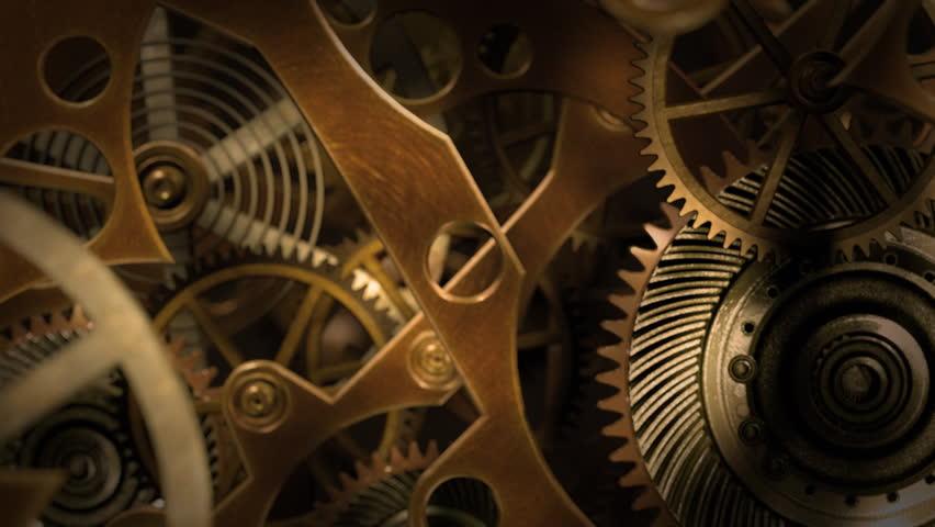 Inside a clock, infinite zoom into the clockwork mechanism. A 3d animation.