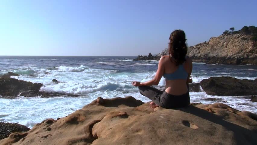 Yoga on pristine beach prayer pose  | Shutterstock HD Video #828304