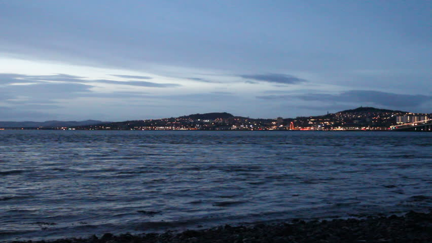 Tay Road Bridge and Dundee Waterfront at dusk Scotland - HD stock video clip