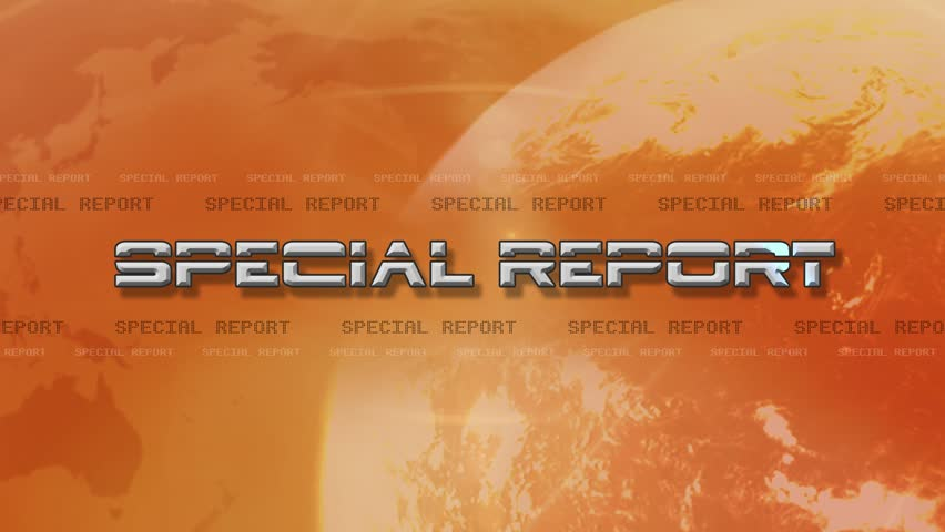 4K High Res bumper animation of Special Report. Text Flies in Lens Flare  With a Light globe rotating, map and text scrolling background - Virtual Set Lights abstract Background  Source: After Effects   Shutterstock HD Video #8306800