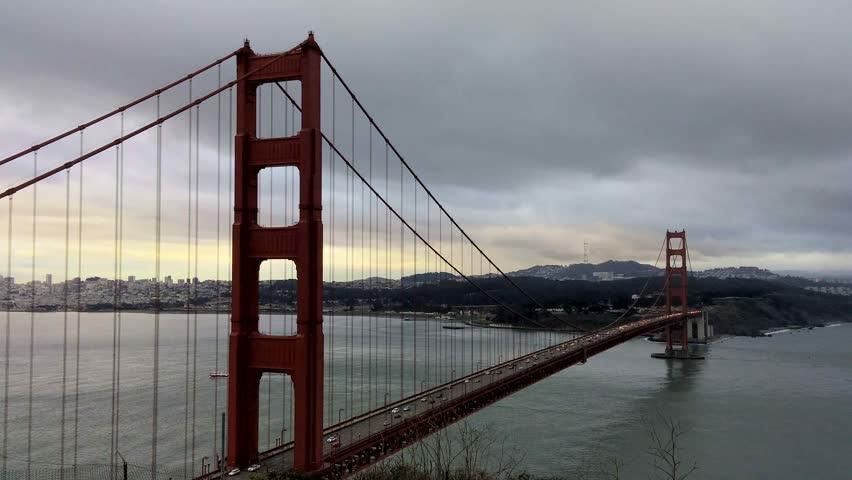 Marin Headlands, California - December, 2014 - Static shot of the Golden Gate Bridge.