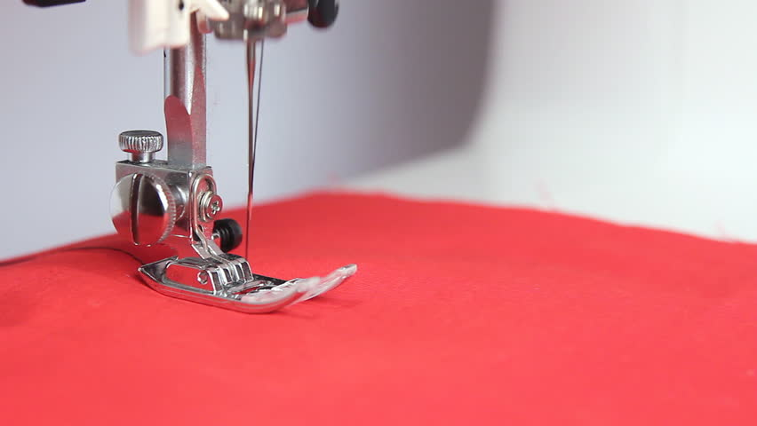 Sewing Machine In Action Red Cloth Stock Footage Video