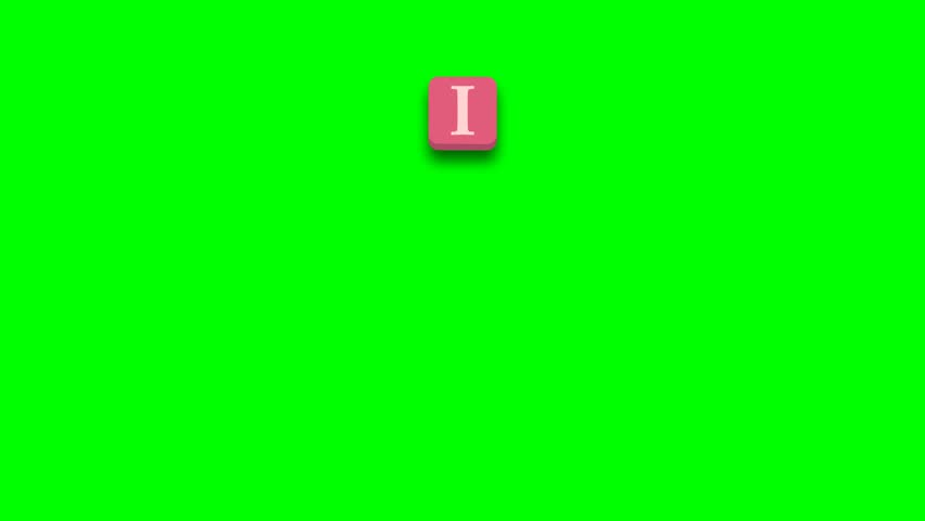 Valentine's Day greeting card phrase, saying. I love you with colorful blocks on green screen - 4K stock footage clip
