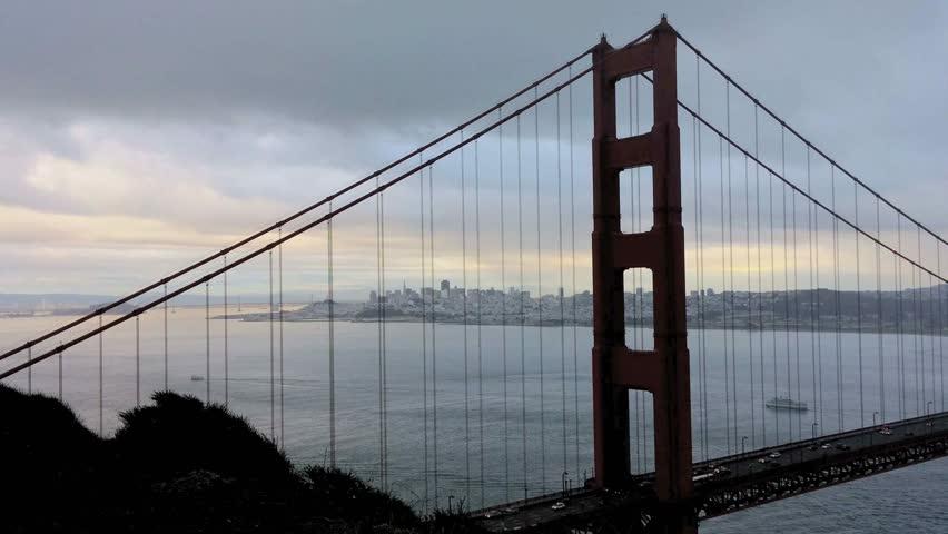 Marin Headlands, California - December, 2014 - Panning shot of the Golden Gate Bridge.